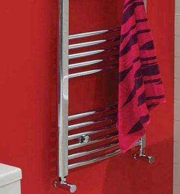 Curved Chrome Heated Towel Rails