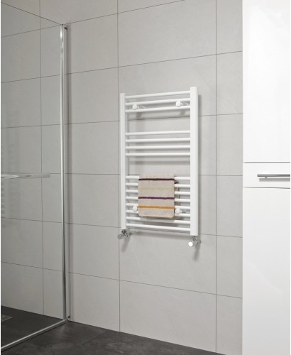Straight 800x600 Heated Towel Rail White - * Special Offer includes radiator valves