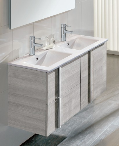 Avila Sandy Grey 2 Door 2 Drawer 120cm Wall Hung Vanity Unit and Basin