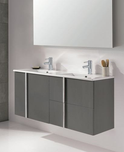 Avila Gloss Grey 120cm Double Vanity Unit 2 Door 2 Drawer & Basin