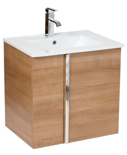 Avila Walnut 60cm Wall Hung Vanity Unit 2 Door & Basin