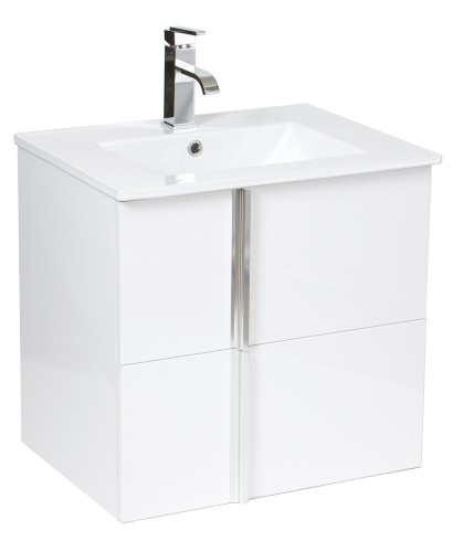 Avila White 60cm Wall Hung Vanity Unit 2 Drawer