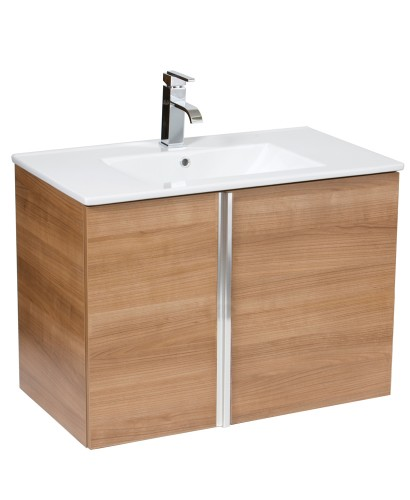 Avila Walnut 80cm Wall Hung Vanity Unit 2 Door & Basin