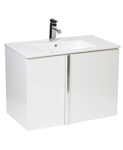 Avila White 80cm Wall Hung Vanity Unit 2 Door and Basin