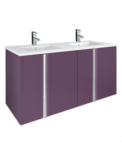 Avila Aubergine 120cm Double Vanity Unit 4 Door & Basin