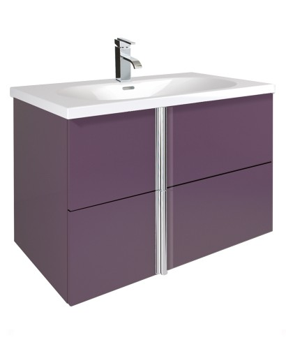 Avila Aubergine 80cm Vanity Unit 2 Drawer and Idea Basin