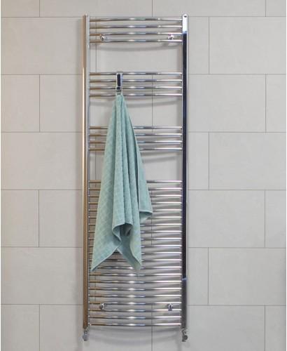 Curved 1800x600 Heated Towel Rail Chrome