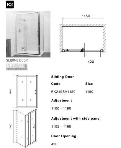 K2 1150 Sliding Shower Enclosure