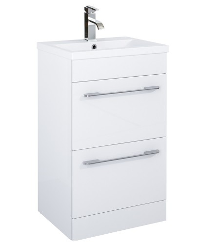 Cairo 50cm Vanity Unit 2 Drawer White and Basin