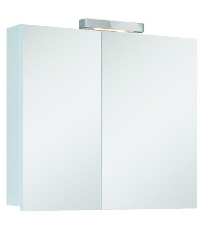 Hampton 2 Door Mirror Cabinet 60cm White with Light Fitting