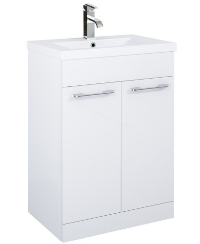 Porto 60cm Slimline Vanity Unit 2 Door White and Basin