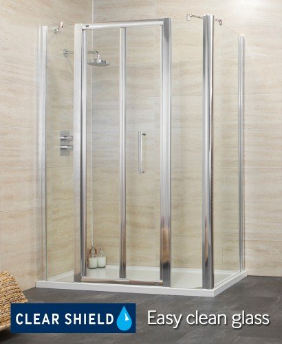 Revive 1400 Bifold Shower Enclosure with Two Infill Panels and Side Panel