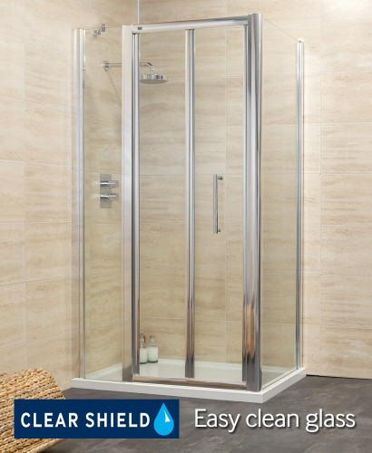 Revive 1200 Bifold Shower Enclosure with Single Infill Panel and Side Panel
