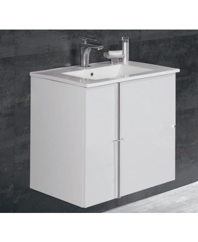 Avila White 2 Door 60cm Wall Hung Vanity Unit and Basin