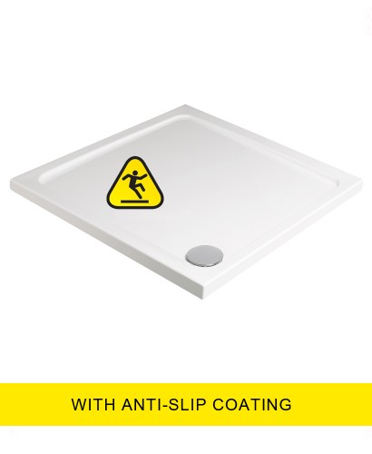 Kristal Low Profile 1000 Square Shower Tray - Anti Slip with FREE shower waste