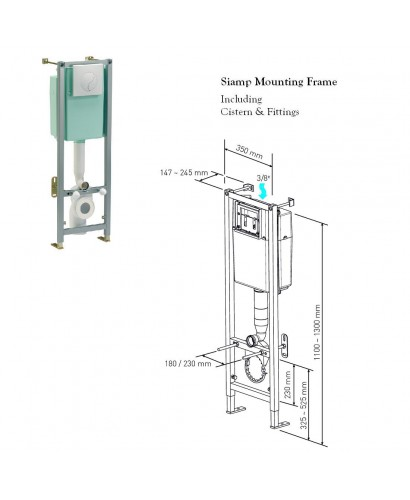 Siamp Mounting Frame Including Cistern For Wall Hung