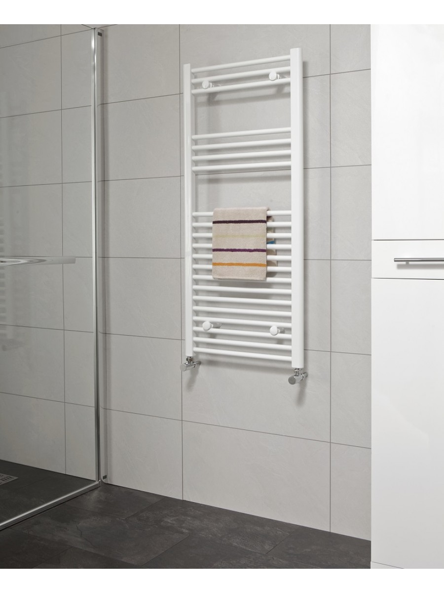 Straight 1200x500 Heated Towel Rail White - *Special Offer includes radiator valves