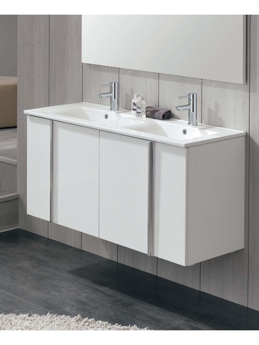 Avila White 4 Door 120cm Wall Hung Vanity Unit and Basin
