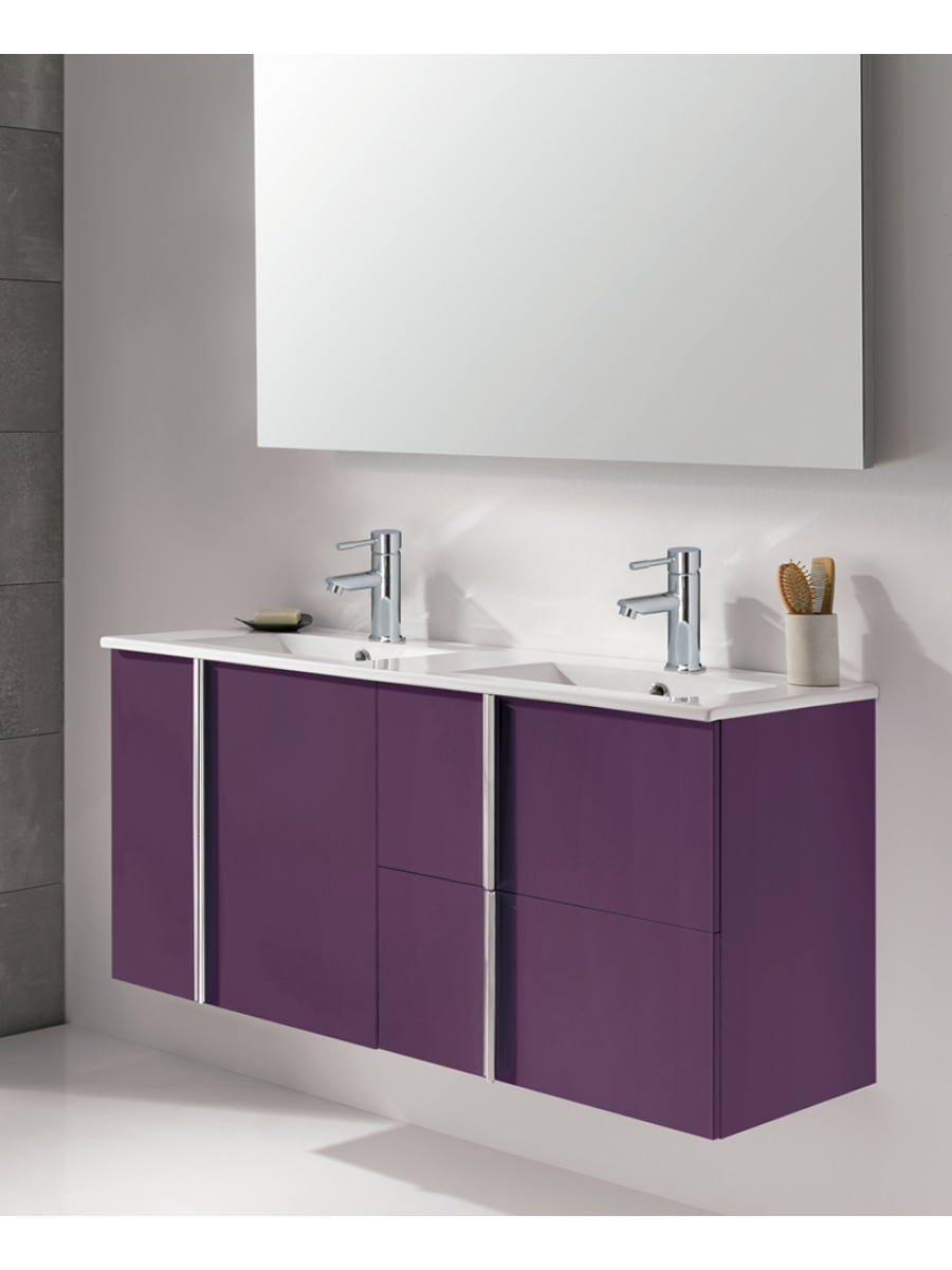 Avila Aubergine 120cm Double Vanity Unit 2 Door 2 Drawer & Basin