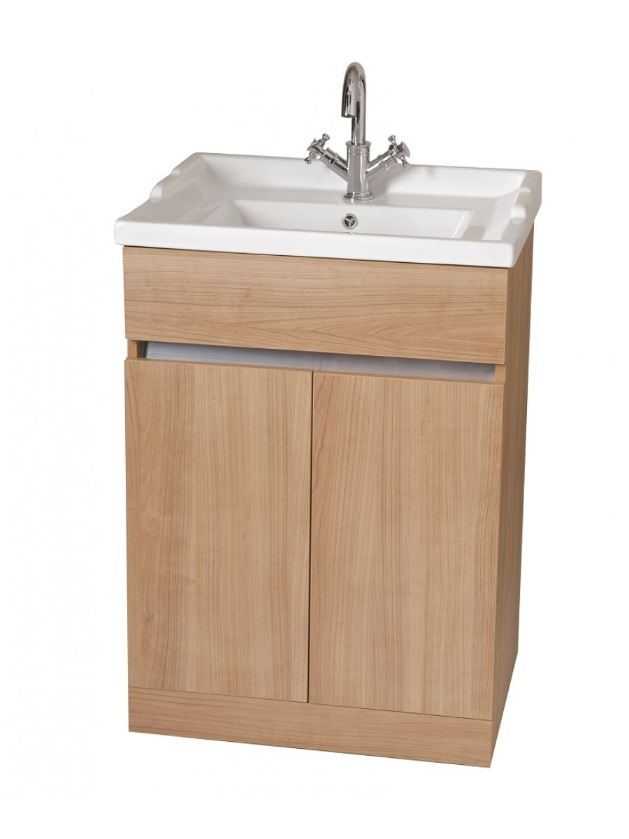 Athens Oak 60cm Vanity Unit & Victoria Washbasin