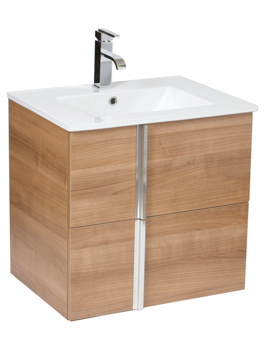 Avila Walnut 60cm Wall Hung Vanity Unit 2 Drawer