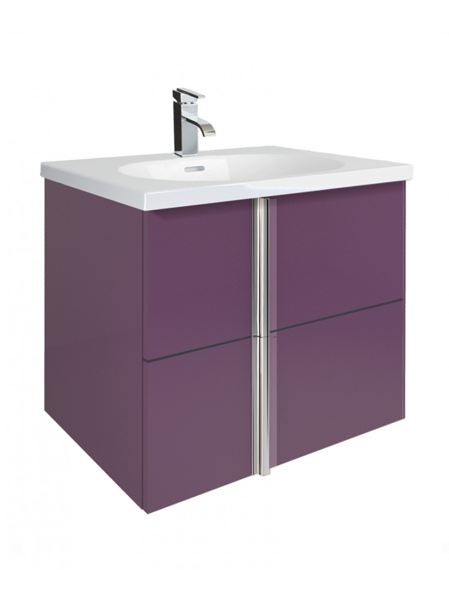 Avila Aubergine 60cm Vanity Unit 2 Drawer and Idea Basin
