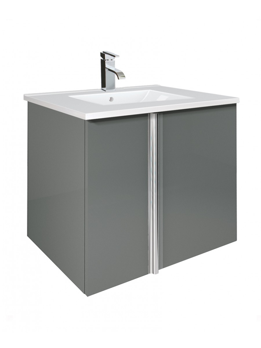 Avila Gloss Grey 60cm Vanity Unit 2 Door and Basin