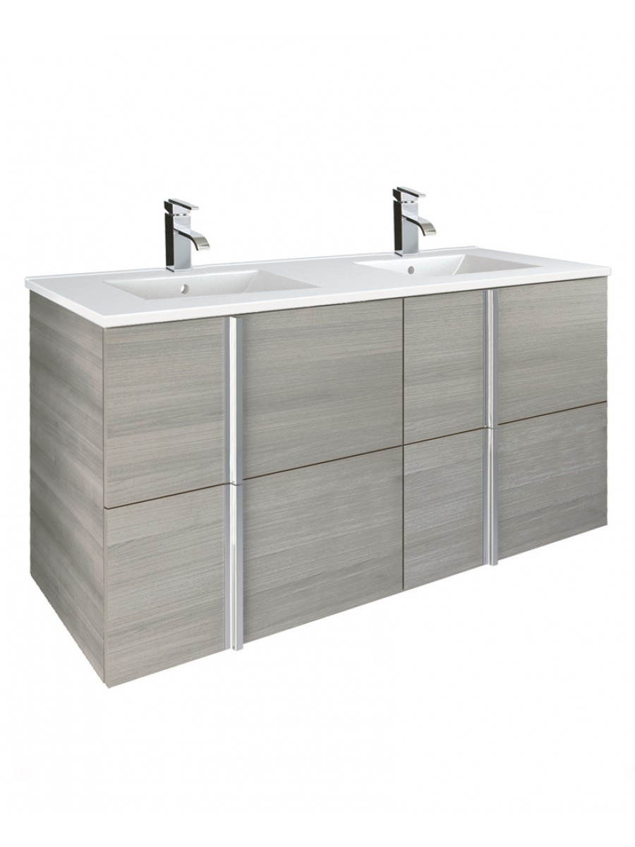Avila Sandy Grey 120cm  Double Vanity Unit and Basin - 4 Drawer