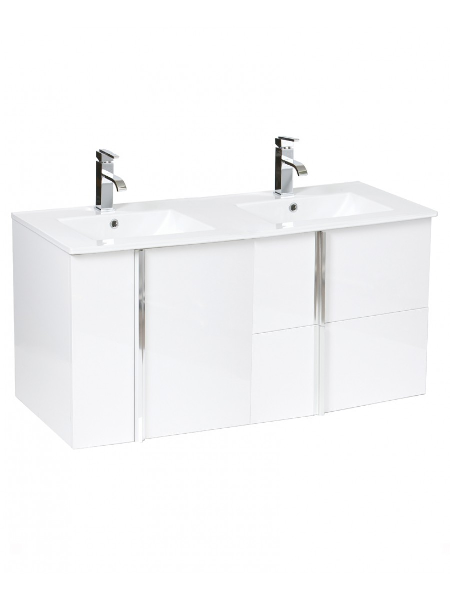 Avila White 2 Door 2 Drawer 120cm Wall Hung Vanity Unit and Basin