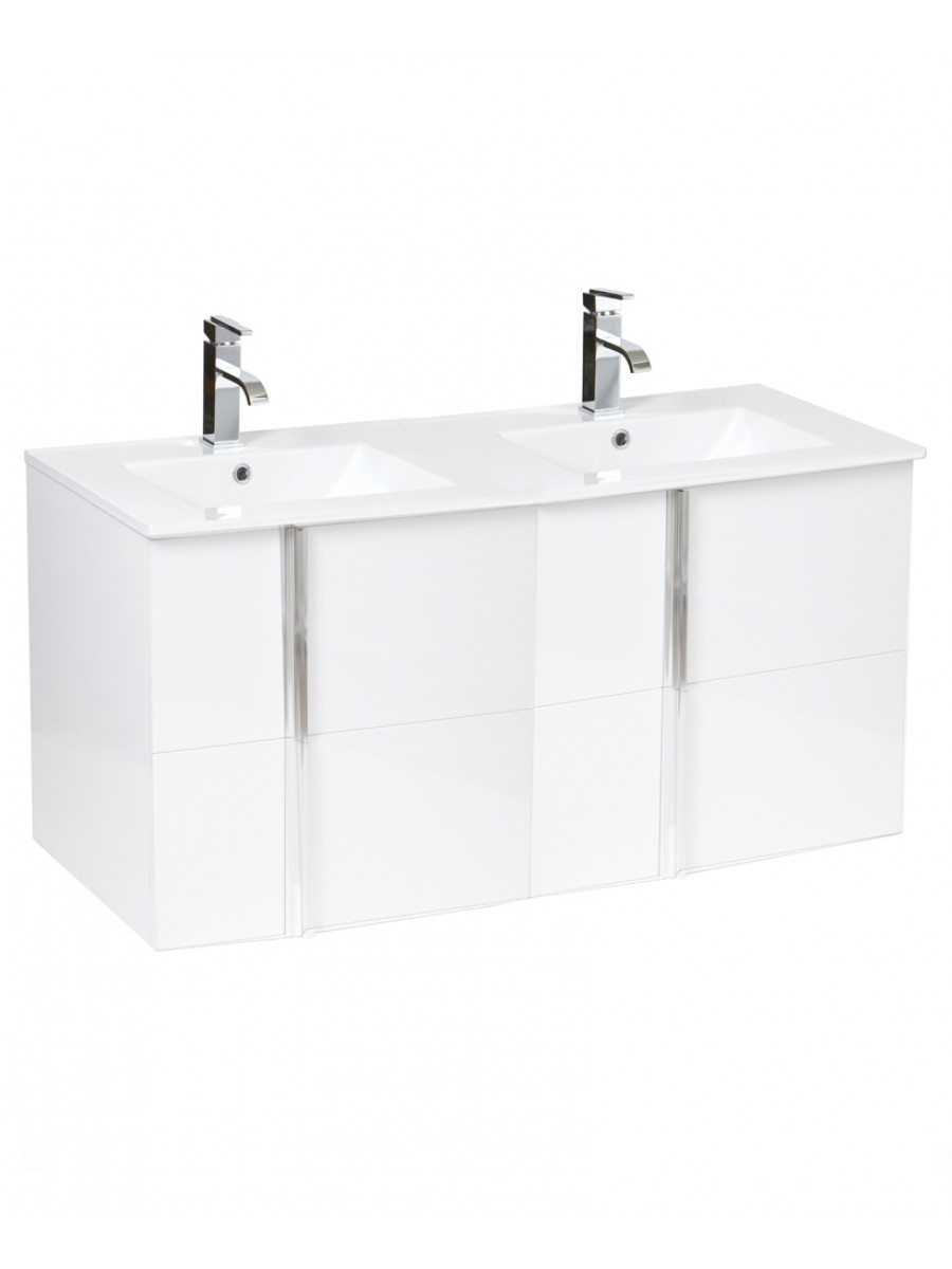 Avila White 4 Drawer 120cm Wall Hung Vanity Unit and Basin