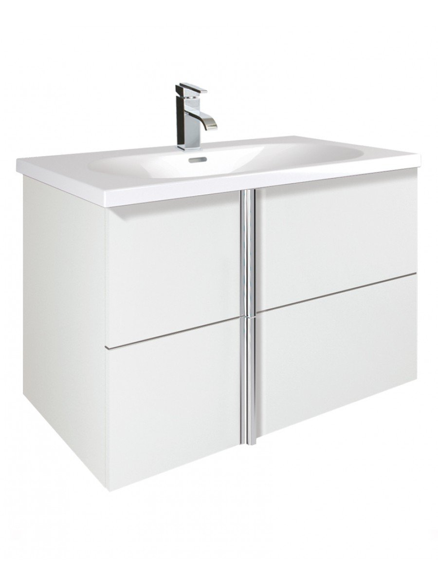 Avila White 2 Drawer 80cm Wall Hung Vanity Unit and Idea Basin