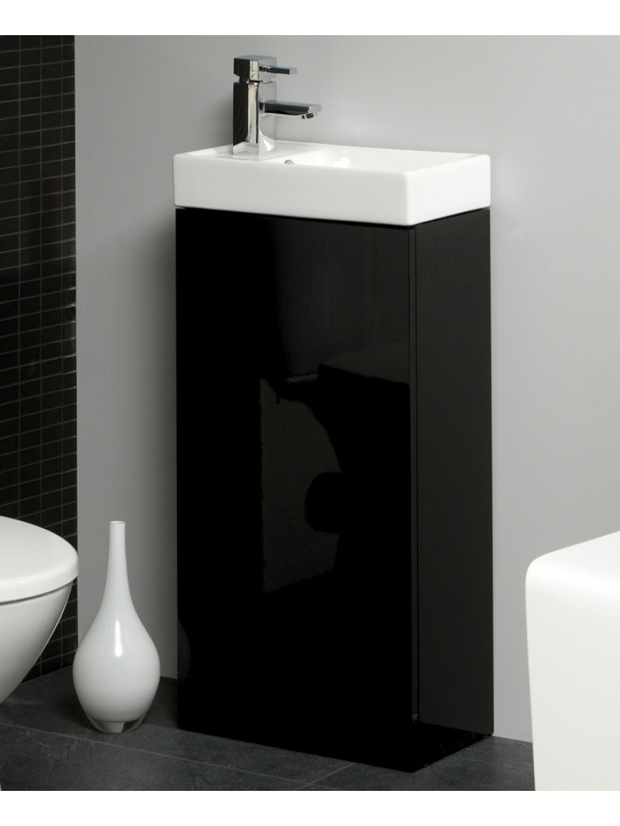 Basle 40cm Black Floor Standing Unit & Cloakroom Basin - Basle Saving