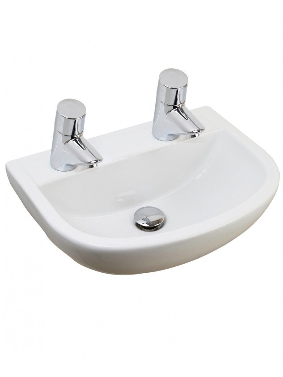 Compact Medical 500 Washbasin 2 Tap Hole