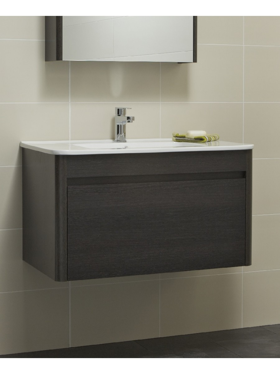 Ella 80cm Dark Wood Vanity Unit and Basin