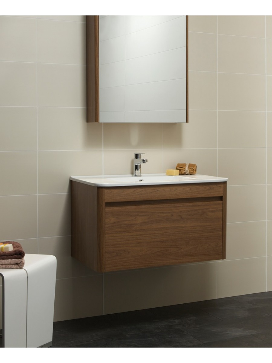Ella 80cm Walnut Vanity Unit and Basin