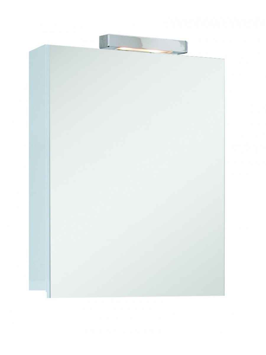 Hampton 1 Door Mirror Cabinet 50cm White with Light Fitting