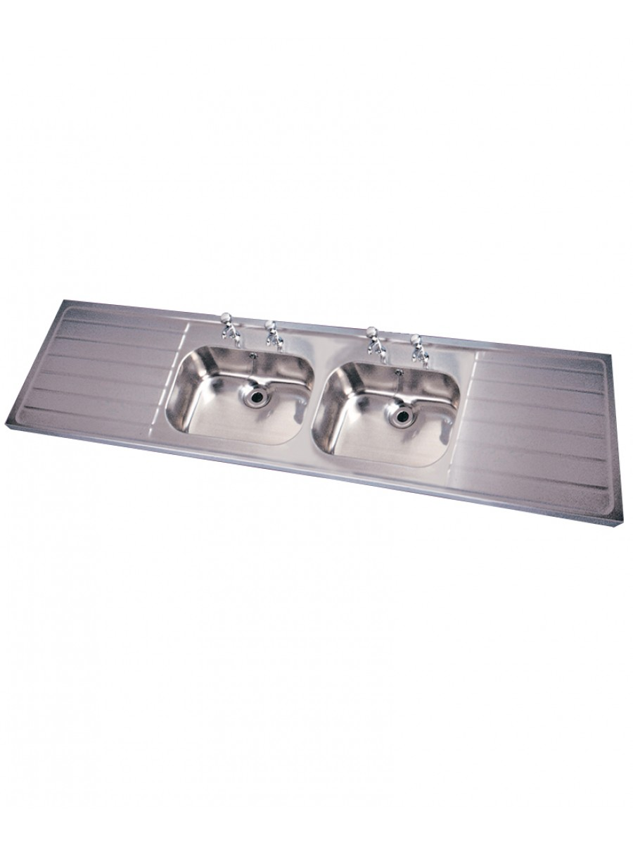 Jersey HTM64 Sit-on Sink 2400x600mm Double Bowl Double Drainer