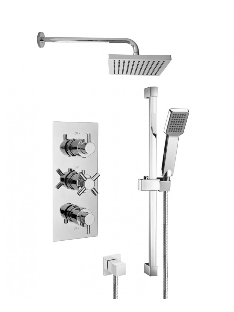 LIBRA Triple Shower Valve & Square Slide Rail Kit & Kelda Shower Head