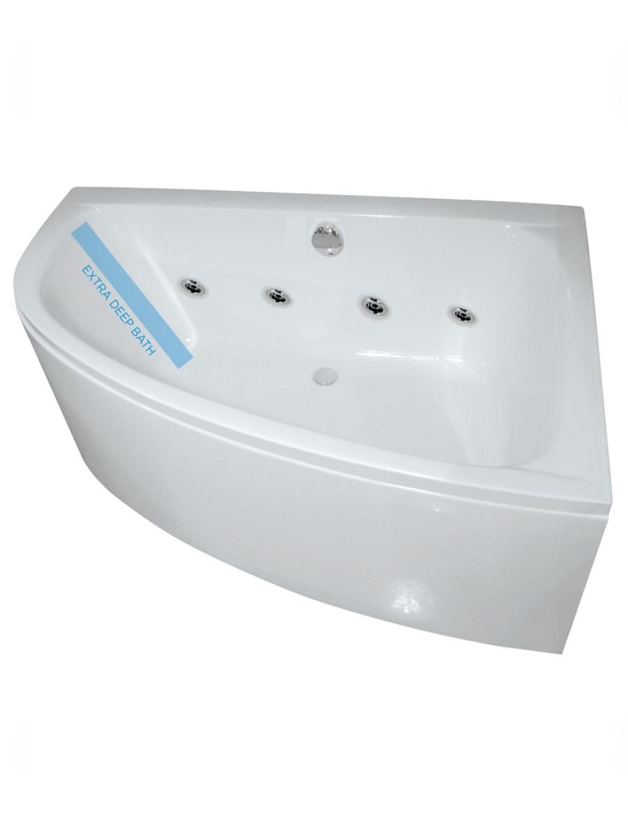 Maya Offset Corner 8 Jet Whirlpool Bath Right Hand with Bath Panel