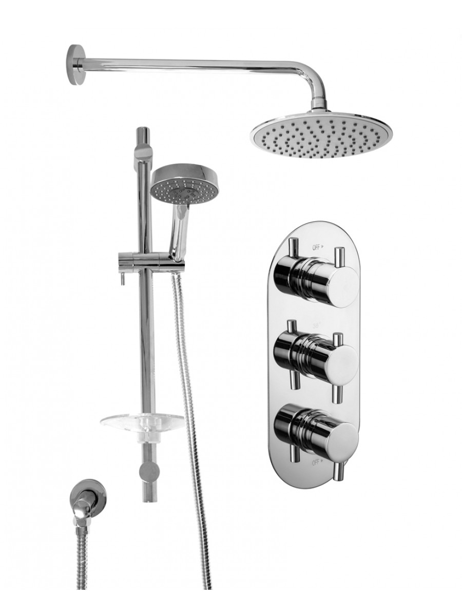 ORION Triple Shower Valve & Ria Head & Marine Slide Rail Kit