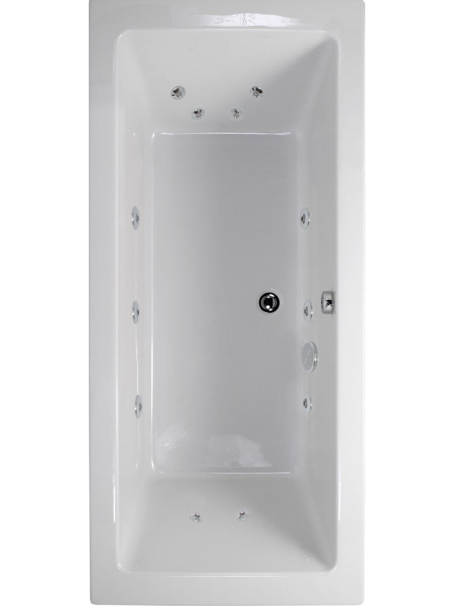 Plane 1800x900 Double Ended 12 Jet Whirlpool Bath - Extra Deep