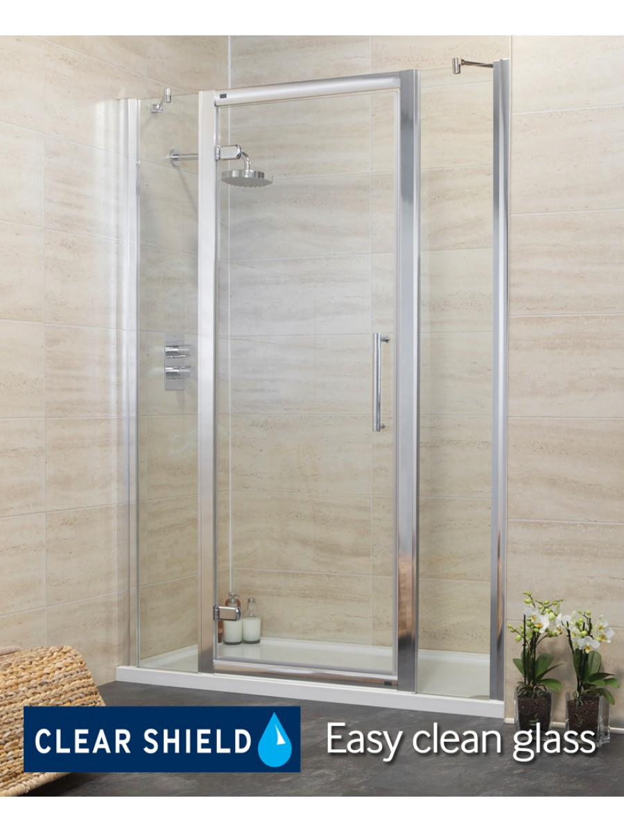 Revive 1400 hinge shower door with two infill panels for 1400 shower door
