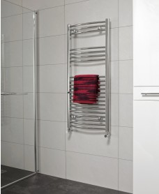 Curved 1200x500 Heated Towel Rail Chrome - Special Offer* - Includes Radiator Valves