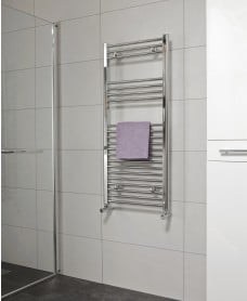 Straight 1200x500 Heated Towel Rail Chrome - Special Offer* - includes radiator valves