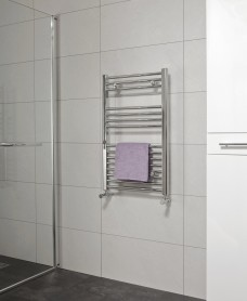 Straight 800x500 Heated Towel Rail Chrome - Special Offer* - includes radiator valves