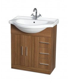 Oslo Walnut 75cm Vanity Unit & Basin