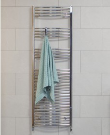 Curved 1800x500 Heated Towel Rail Chrome