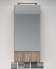 Twyford E100 Grey Ash Mirror Cabinet 493mm - with Light