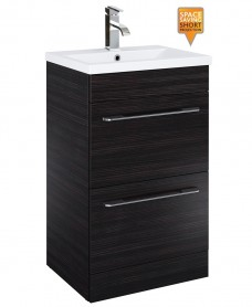 Cairo 50cm Vanity Unit 2 Drawer Hacienda Black and Basin