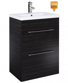 Cairo 60cm Vanity Unit 2 Drawer Hacienda Black and Basin